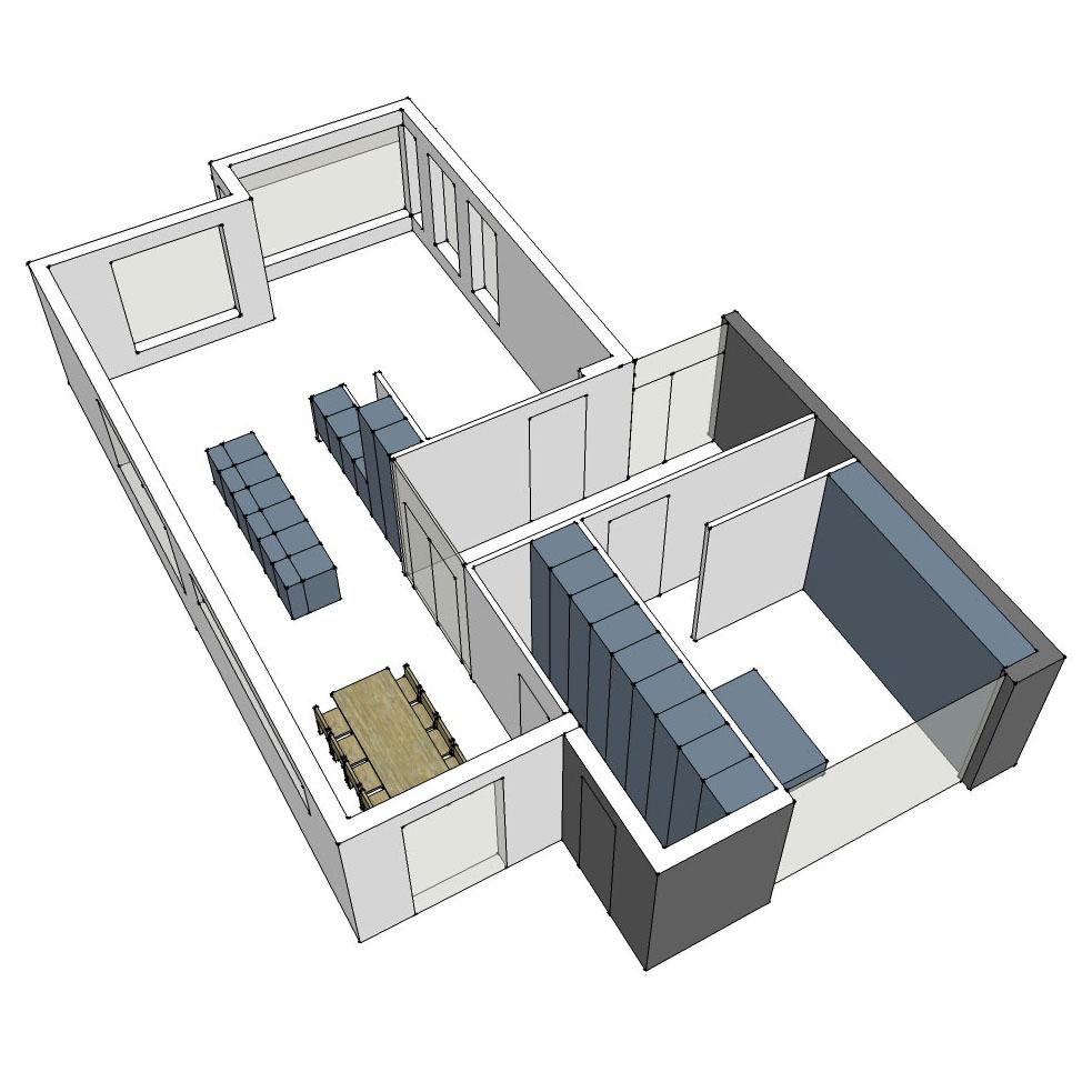 Ontwerp van een uitbreiding en een nieuwe indeling voor een vrijstaande woning.